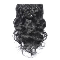 16 to 26 Inch #1 Jet Black 10pcs Body Wave Clip In Human Hair Extensions