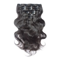 16 to 24 Inch #1B Natural Black 10pcs Body Wave Clip In Human Hair Extensions