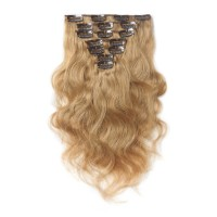 16 to 26 Inch #27 Strawberry Blonde 10pcs Body Wave Clip In Human Hair Extensions