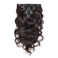 16 to 26 Inch #2 Darkest Brown 10pcs Body Wave Clip In Human Hair Extensions