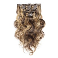 16 to 26 Inch #4/27 10pcs Body Wave Clip In Human Hair Extensions