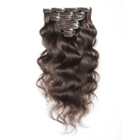 16 to 26 Inch #4 Chocolate Brown 10pcs Body Wave Clip In Human Hair Extensions
