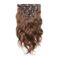 16 to 26 Inch #8 Light Brown 10pcs Body Wave Clip In Human Hair Extensions