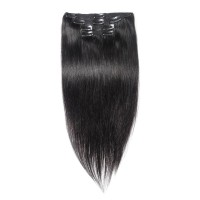 16 to 24 Inch #1 Jet Black 10pcs Straight Clip In Human Hair Extensions