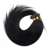 16-24 Inch Straight Nail Tip Remy Hair Extensions #1 Jet Black
