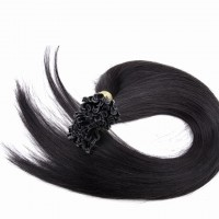 16-24 Inch Straight Nail Tip Remy Hair Extensions #1B Natural Black
