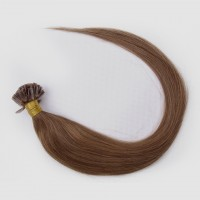 16-24 Inch Straight Nail Tip Remy Hair Extensions #8 Light Brown