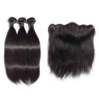 "12""/14""/16"" 3 Bundles Straight Virgin Hair 300g With 10"" 13*4 Straight Frontal"