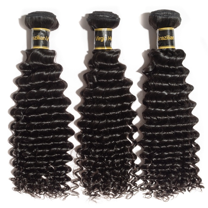 "10A 12""/14""/16"" Virgin Hair Deep Curly 3 Bundles Sample"