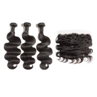 "12""/14""/16"" 3 Bundles Body Wavy Virgin Hair 300g With 10"" 13*4 Body Wavy Frontal"