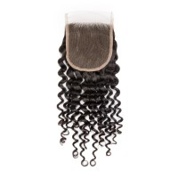 "10-20 Inch 4"" x 4"" Deep Curly Free Parted Lace Closure #1B Natural Black"