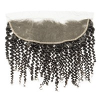 """10-20 Inch 13"""" x 4"""" Kinky Curly Free Parted Frontal #1B Natural Black"""