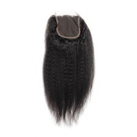 "10-20 Inch 4"" x 4"" Kinky Straight Virgin Brazilian Free Parted Lace Closure #1B Natural Black"