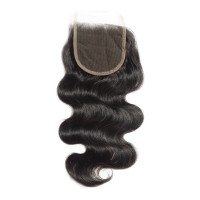 "10-20 Inch 4"" x 4"" Body Wavy Virgin Brazilian Free Parted Lace Closure #1B Natural Black"