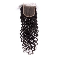 "10-20 Inch 4"" x 4"" Italy Curly Free Parted Lace Closure #1B Natural Black"
