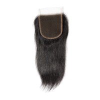 "10-20 Inch 4"" x 4"" Straight Free Parted Lace Closure #1B Natural Black"