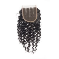 "10-20 Inch 4"" x 4"" Deep Curly Virgin Brazilian 3 Parted Lace Closure #1B Natural Black"