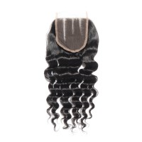 "10-20 Inch 4"" x 4"" Loose Wavy Virgin Brazilian 3 Parted Lace Closure #1B Natural Black"