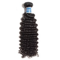 10-30 Inch Deep Curly Virgin Peruvian Hair #1B Natural Black