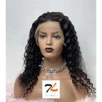 """16-28 Inch Pre-Plucked 13""""x4"""" Lace Front Deep Curly Wig Human Hair Free Part 150% Density"""