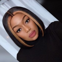 "10""-12"" 13""x4"" Blonde Highlight Straight Custom Lace Front BOB Wig"