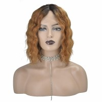 T-Part Frontal Lace Wig Human Hair 12 inch 1B/30 Body Wave