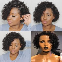 Pixie Cut 13x4 Front Lace Wig Short Curly Hair Wig 1B Natural Black 8-10 inch