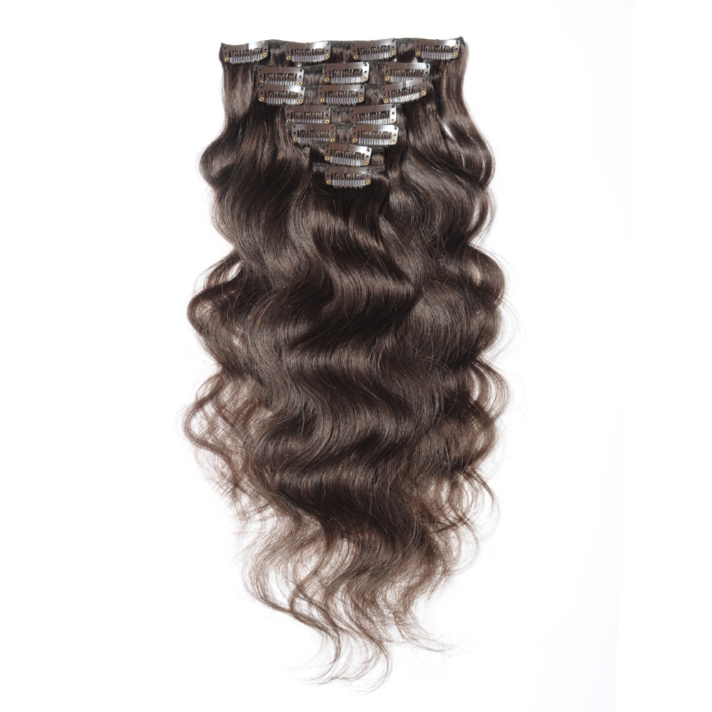 16 To 26 Inch 4 Chocolate Brown 10pcs Body Wave Clip In Human Hair