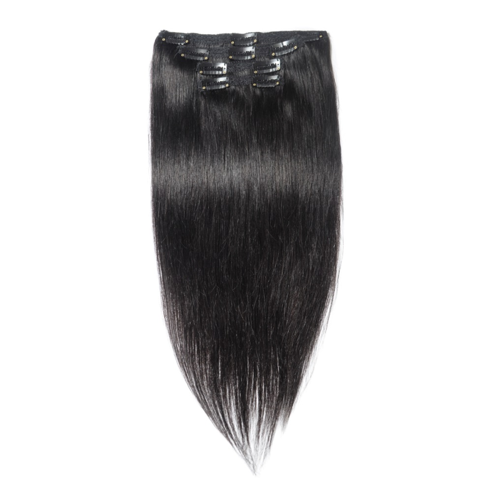 16 To 26 Inch 1 Jet Black 10pcs Straight Clip In Human Hair Extensions
