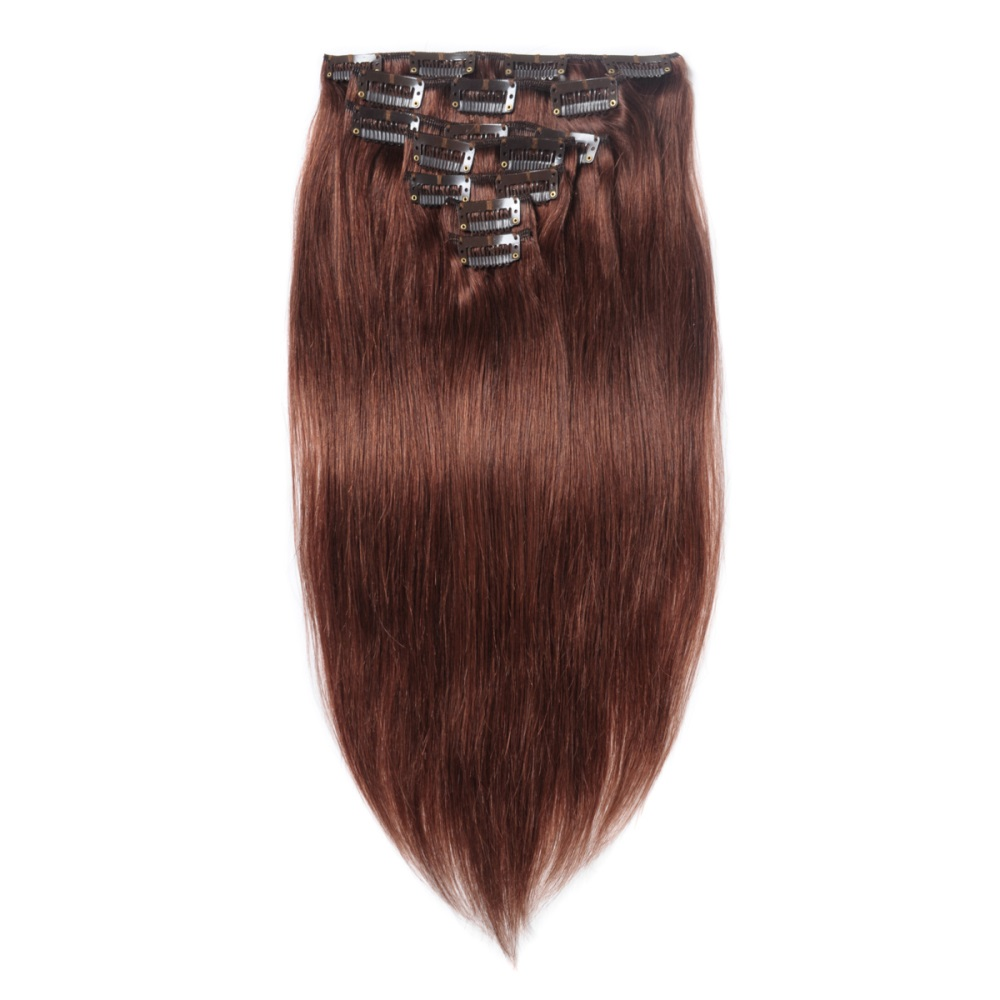 16 To 26 Inch 33 Rich Copper 10pcs Straight Clip In Human Hair