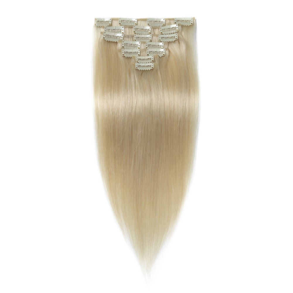 16 To 26 Inch 60 White Blonde 10pcs Straight Clip In Human Hair