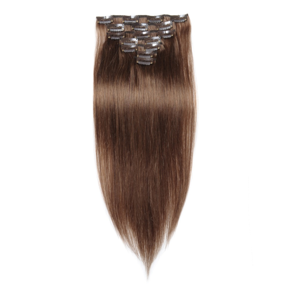 16 To 26 Inch 8 Light Brown 10pcs Straight Clip In Human Hair