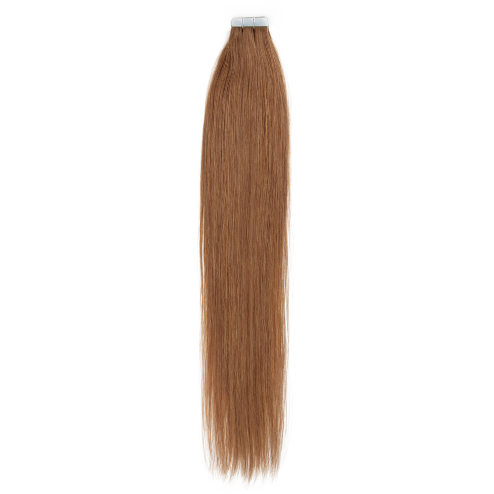 16 24 Inch Straight Tape In Remy Hair Extensions 8 Light Brown